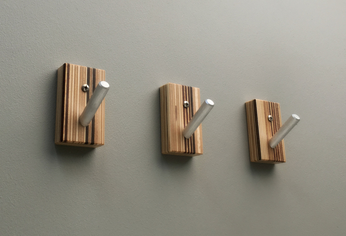 Vertical Striped Wood Wall Hooks with Metal Pegs