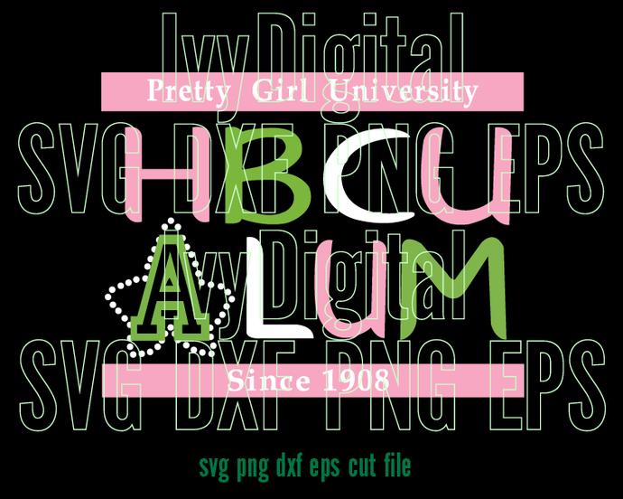Alpha Kappa Alpha Pretty Girl University HBCU Alum SVG logo AKA 1908 Sorority