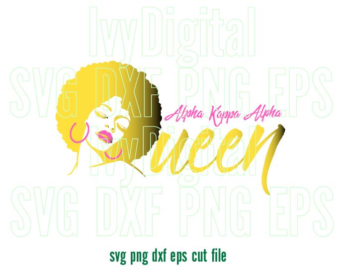 Alpha Kappa Alpha Queen Ivy SVG sign AKA Afro black woman shirt print gifts