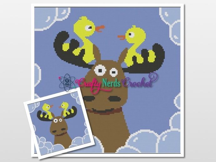 Duck Duck Moose Duck Pattern Graph with Single Crochet and TSS Written