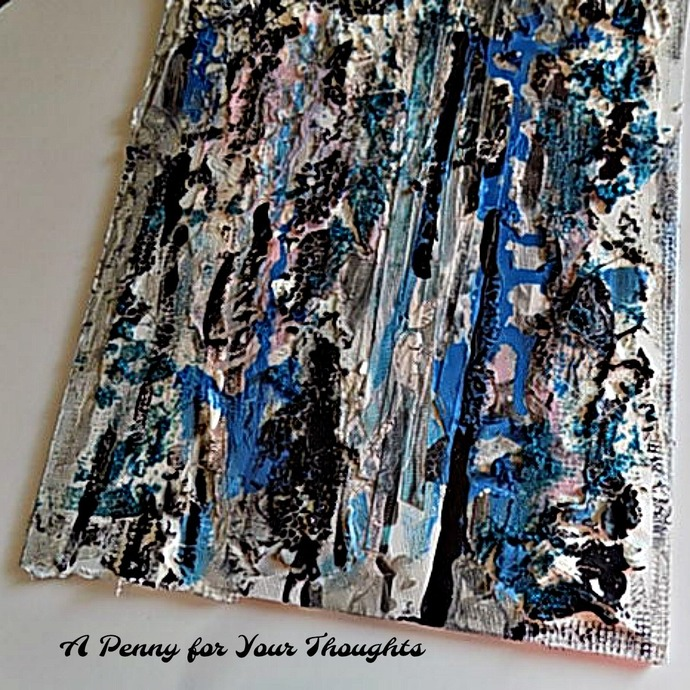 Black and Blue Mixed Media Canvas Covered Panel. Ready to Ship