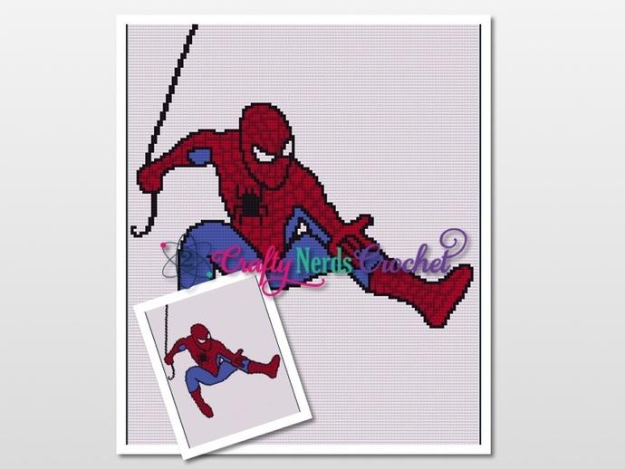 Spiderman Swinging Pattern Graph With Single Crochet Written