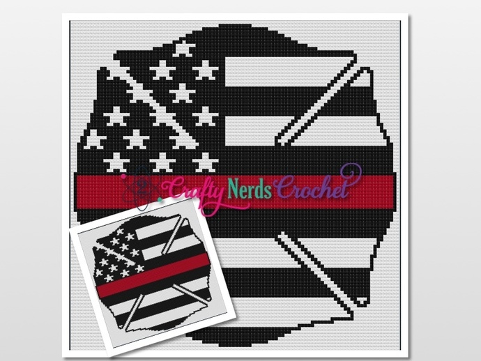 Maltese Cross Thin Red Line Pattern Graph With Mini C2C Written