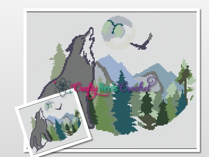 Howling Wolf Pattern Graph With Single Crochet Written
