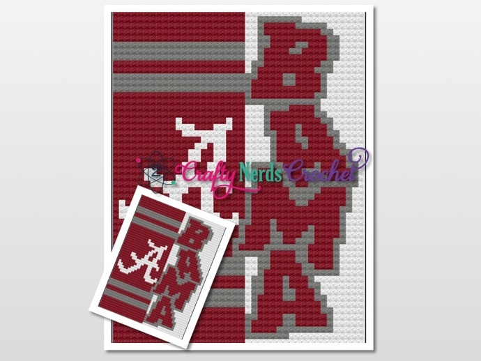 Crimson Tide Bama  Pattern Graph With C2C Written