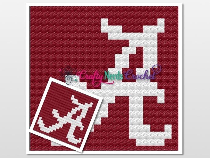 Crimson Tide Pillow Pattern Graph With C2C Written