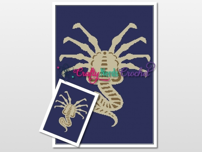FaceHugger Pattern Graph With Single Crochet Written