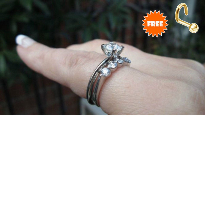 Solid Silver Bridal Set Ring-Solitaire Engagement Ring With Band Round Brilliant