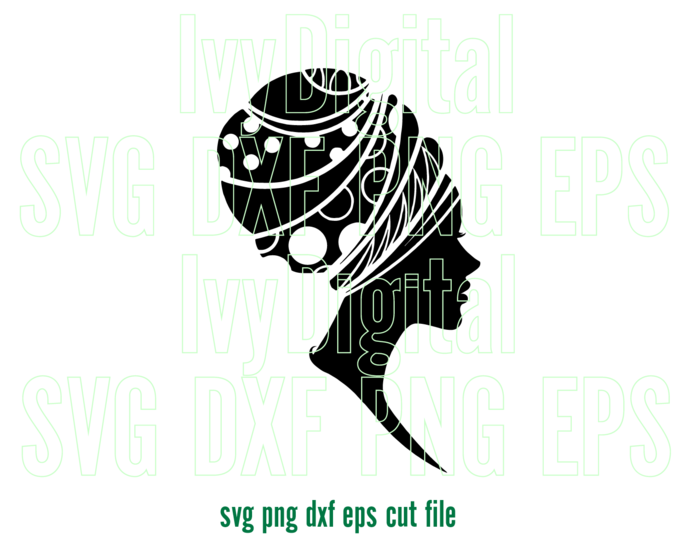 Black Afro Woman African head wrap SVG Afro Girl lady Shirt headwrap Hat art