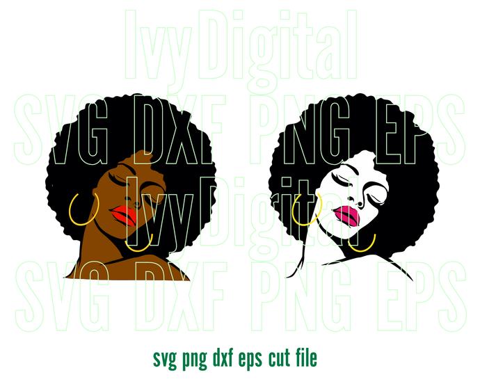 Afro Woman SVG Afro Girl Afro lady Shirt Black Woman art Silhouette Digital