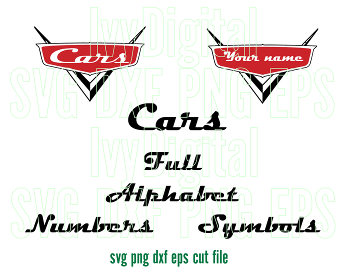 Disney Pixar Cars font SVG Cars Letters Alphabet Number birthday invitation