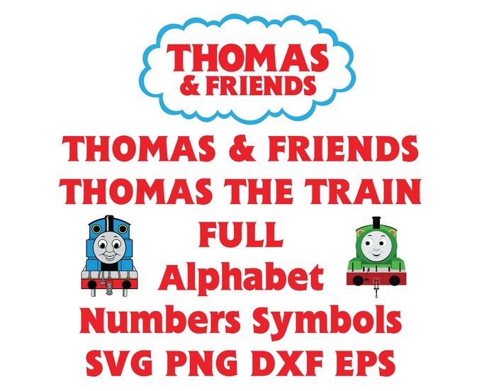 Thomas and friends Font SVG Thomas the train Alphabet Letters Numbers  birthday decor party svg png eps dxf cut files silhouette Cameo Cricut