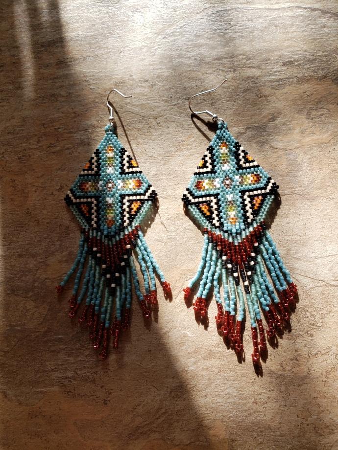 Southwestern Cross Earrings Hand Made Seed Beaded Bead Work
