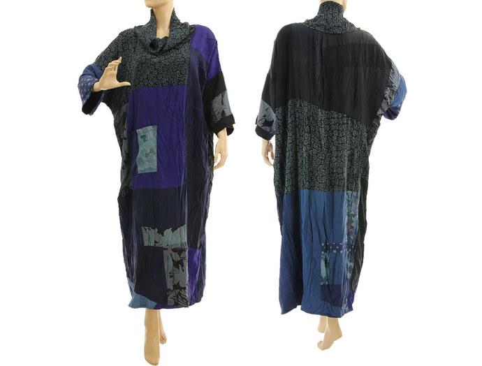 Plus size blue patchwork silk dress, maxi oversize upcycled dress, 100% crushed