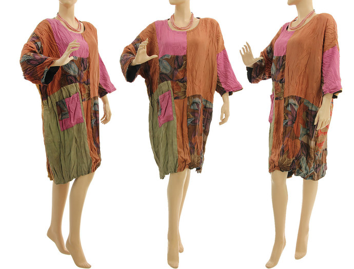 Plus size silk patchwork dress rust pink olive, oversize upcycled dress, 100%