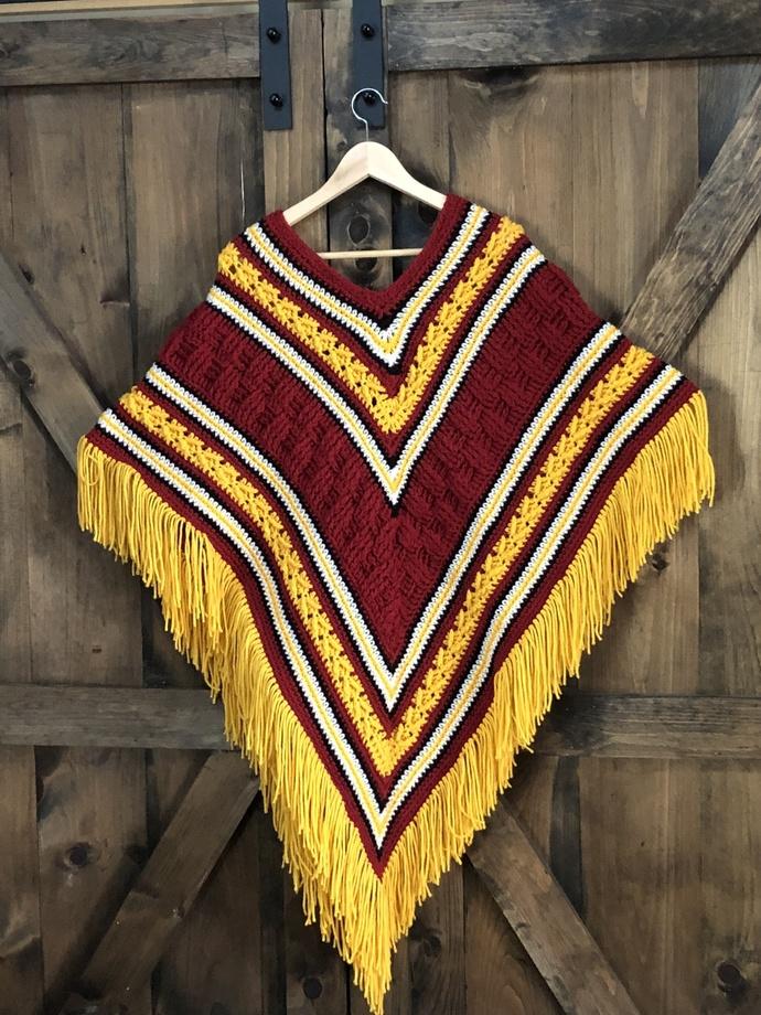 Team Colors Sport Poncho, crochet,handmade poncho,