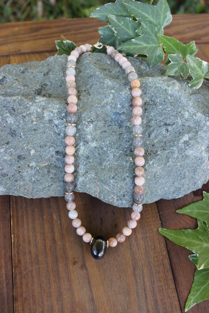 Shungite & peach Moonstone EMF protection necklace