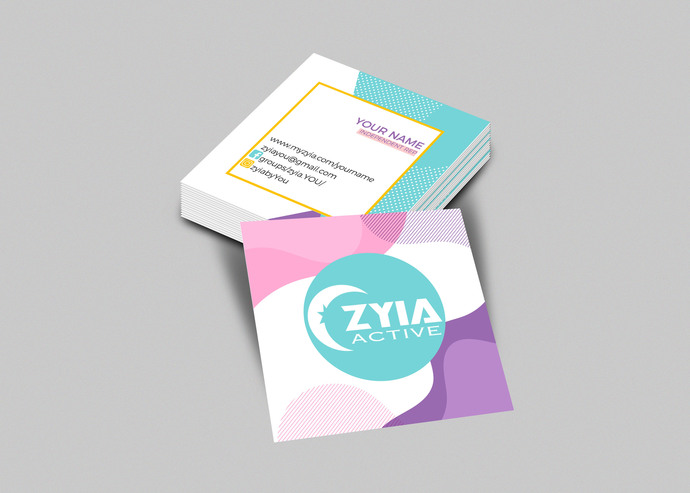 Zyia activewear Square Business Card -  Memphis