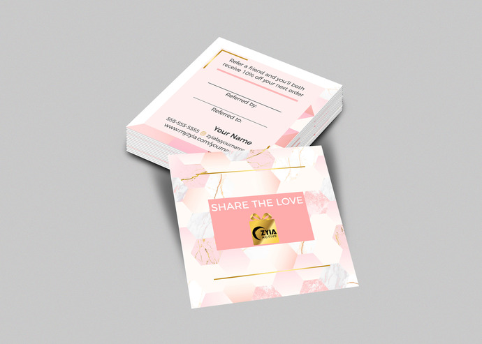 Zyia activewear Square Business Card -  Modern Pink and gold- femenine- Referral