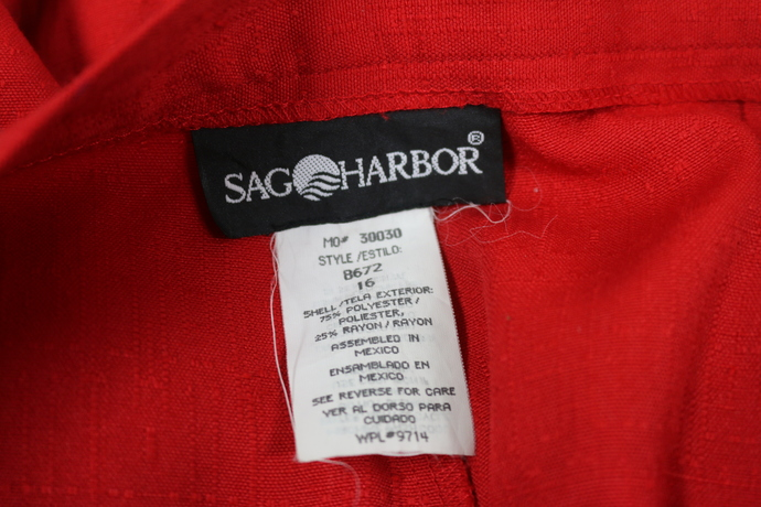 SAG HARBOR New without tags Size 16 Red Poly/rayon linen like red lady's slacks
