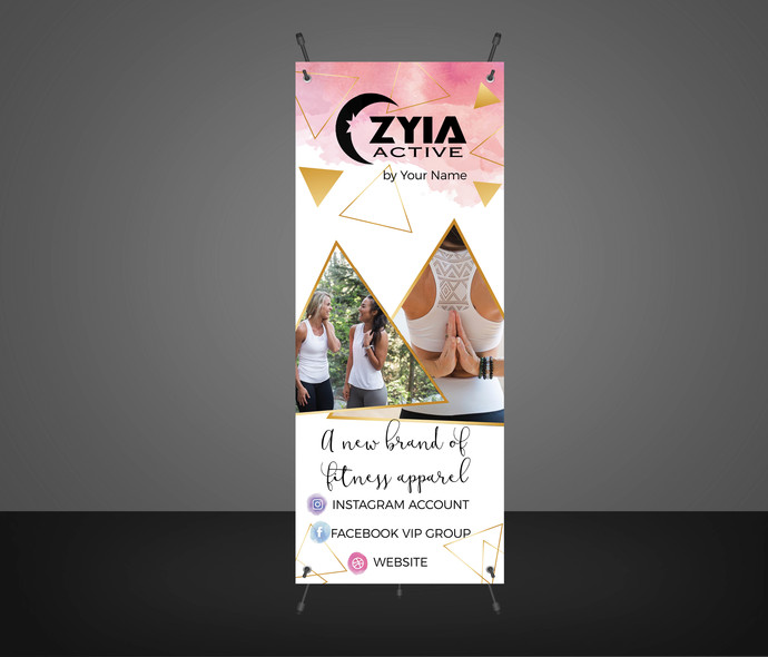 Zyia activewear Banner -Product display - Vendor Show- Pink