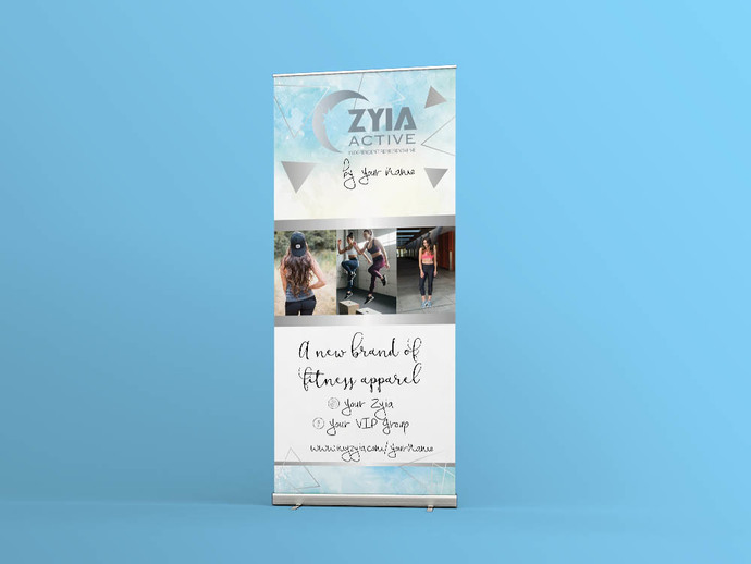 Zyia activewear Banner -Product display - Vendor Show- Blue