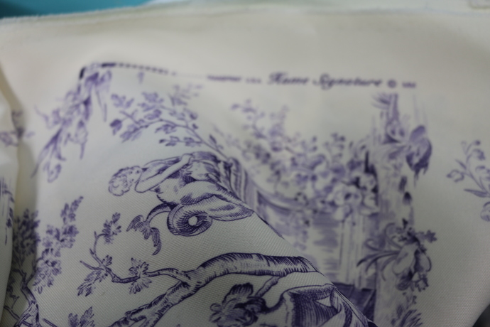 Vintage Fabric Cotton Poly Blend Unusual and GORGEOUS Lavender Toile