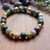 Indian Agate & gold plated lava bracelet