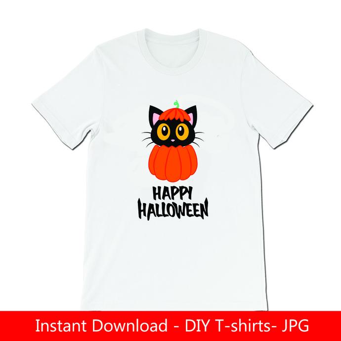 Happy Halloween Cute cat on pumpkin DIY Tshirt- Iron on- JPG files