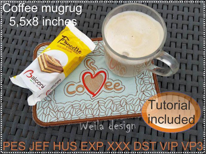 Coffee mugrug 5.5x8 Machine Embroidery Design kitchen pattern pes jes all