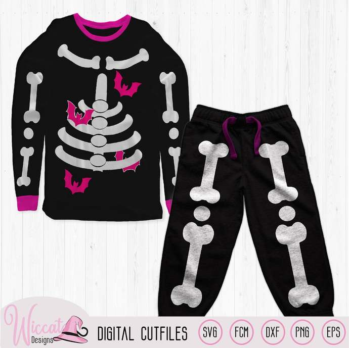Girl skeleton with bats, halloween costume svg, skeleton suit svg, Toddler
