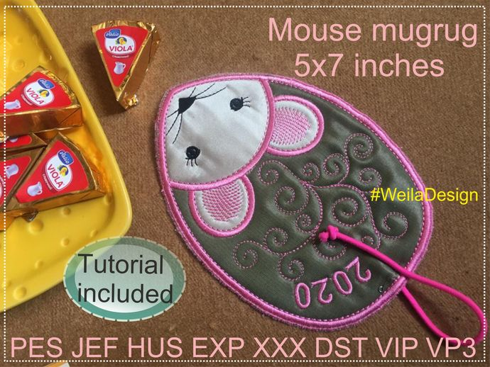 Mouse mugrug 5x7 placemat ITH Machine Embroidery Design kitchen pattern pes jes