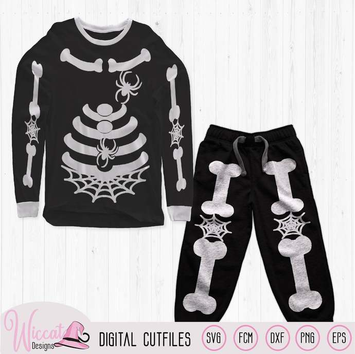Skeleton with spiders costume svg, bones suit svg, spiders and bones outfit,
