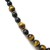Large tiger eye necklace, with black onyx and yellow gold, 23 inch necklace