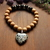 Black Jasper & wood bracelet with Dalmatian Jasper heart