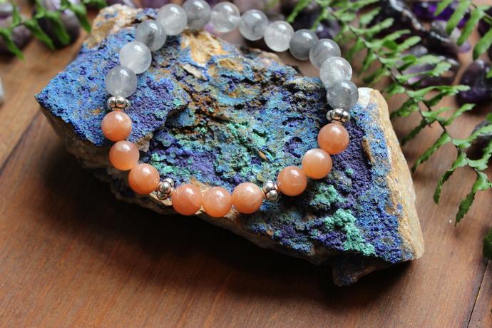 Sunstone & grey Agate bracelet