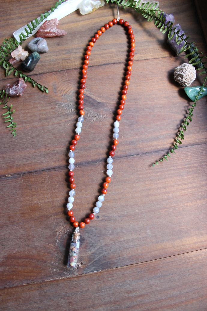 Grey Agate & wood with crystal filled pendant necklace