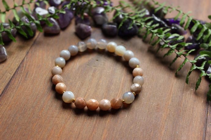 Peach Moonstone & Grey Agate bracelet
