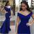 Sexy Royal Blue Off Shoulder Mermaid Prom Dresses Elegant Long Evening Dress