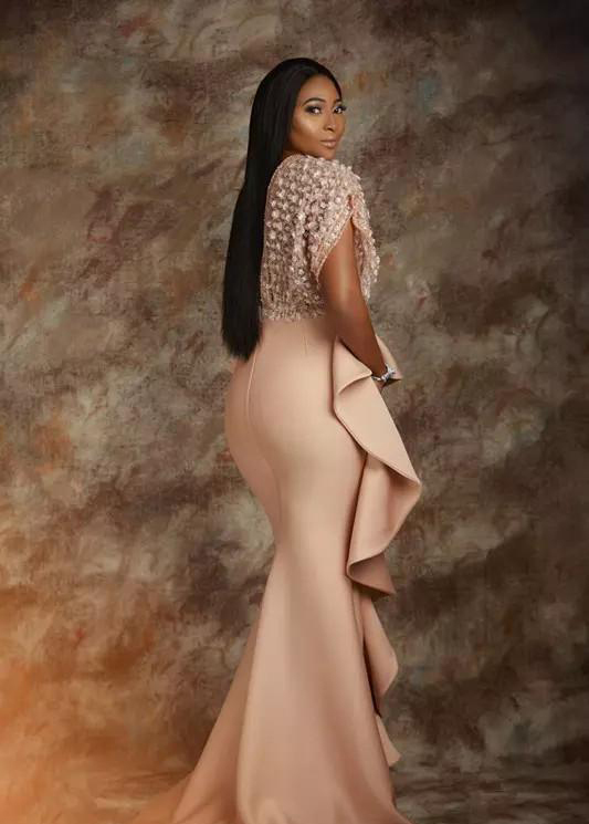 Pearl Pink Lace Evening Dresses 2020 African Saudi Arabia Formal Dress For Women