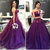 2020 Purple A Line Strapless Prom Gowns with Lace Appliques Cheap Evening