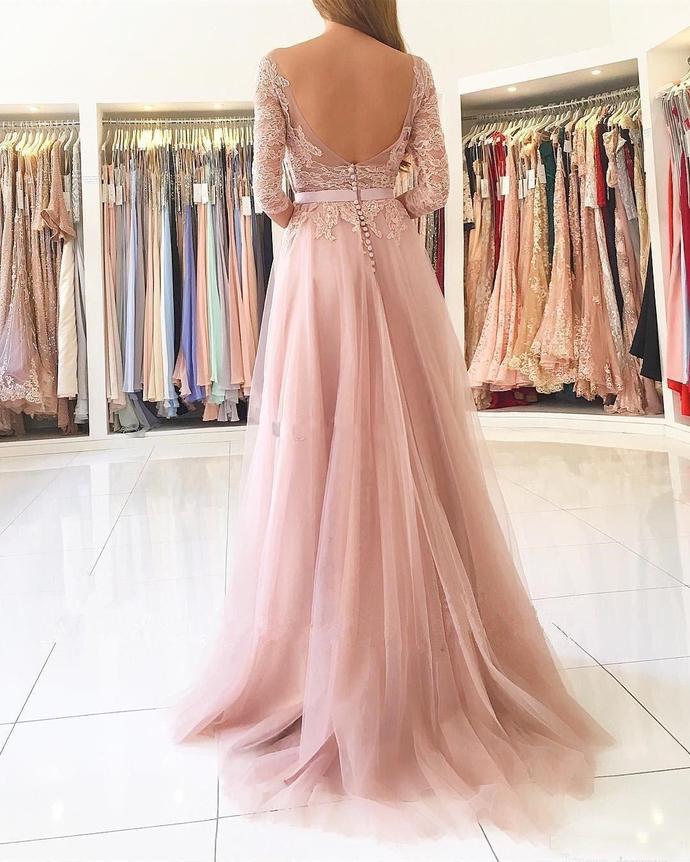 Blush Pink Split Long Prom Dresses Sheer Neck 3/4 Long Sleeves Backless