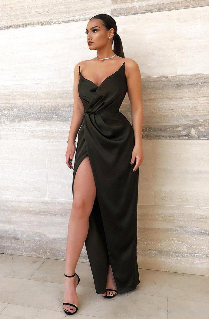 2019 New Sexy Sweetheart Long Prom Dresses Backless High Side Split Ruched Floor