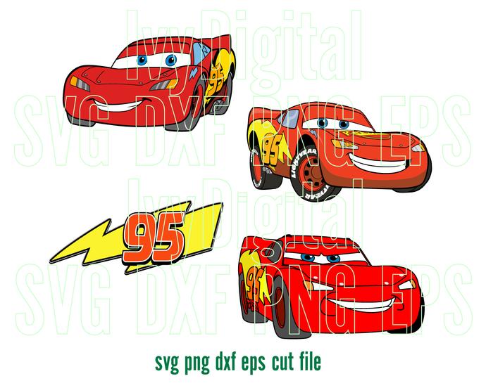 Cars Lightning Mcqueen SVG Disney clipart Shirt Decor Lightning-Mcqueen Birthday