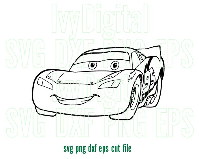 Cars Lightning Mcqueen SVG Stencil clipart Shirt Decor Lightning-Mcqueen
