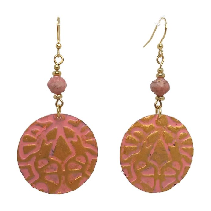Bubblegum Pink Round Painted Brass Earrings, Gold Plated Nickel Free Ear Wires,
