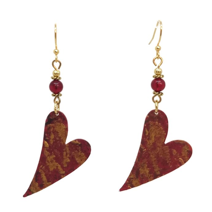 Artisan Heart Red Earrings, Nickel Free Gold Plated Ear Wires, Valentine's Day,