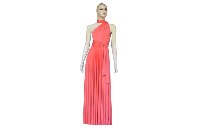 Coral Infinity Dress Bridesmaid Gown Plus Size Prom Dress Multiway Evening Gown