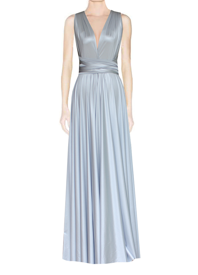 Silver Wedding Dress Infinity Bridesmaid Gown Plus Size Evening Dress Multiway