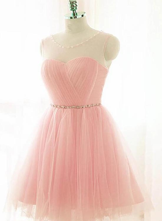 Cute Pink Beaded Short Homecoming Dress, Knee Length Prom Dress